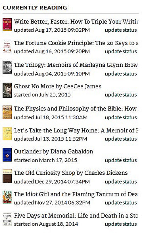 Currently Reading list at GoodReads